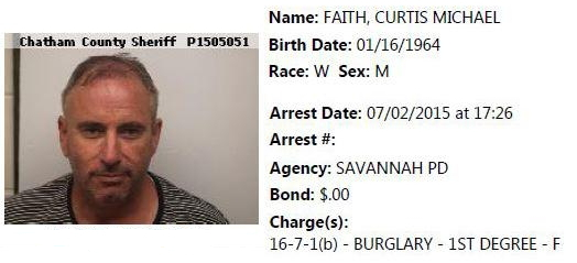 Curtis Michael Faith Second Arrest