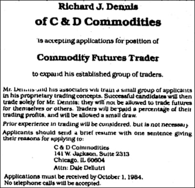 Richard Dennis Turtle Trading Ad