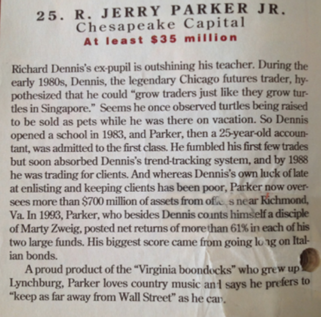 Story of R. Jerry Parker Jr from Chesapeake Capital